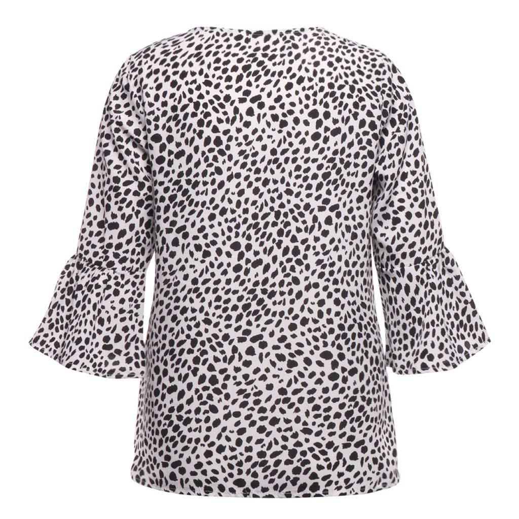 Kobay Le Donne lavorano a Maniche Lunghe Casuale Flare Signore Stampa Camicetta Allentata Tee Shirt Top