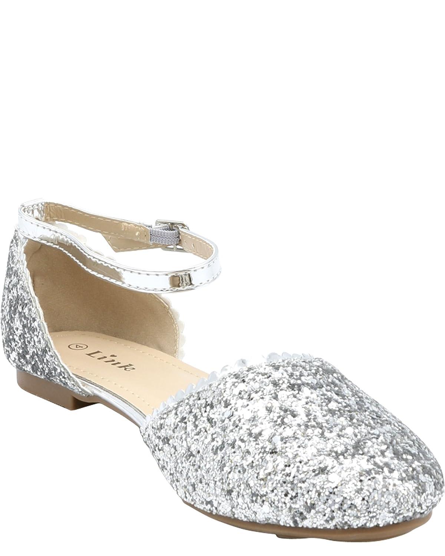Link Girls Glitter Ballet Flats,Silver,3