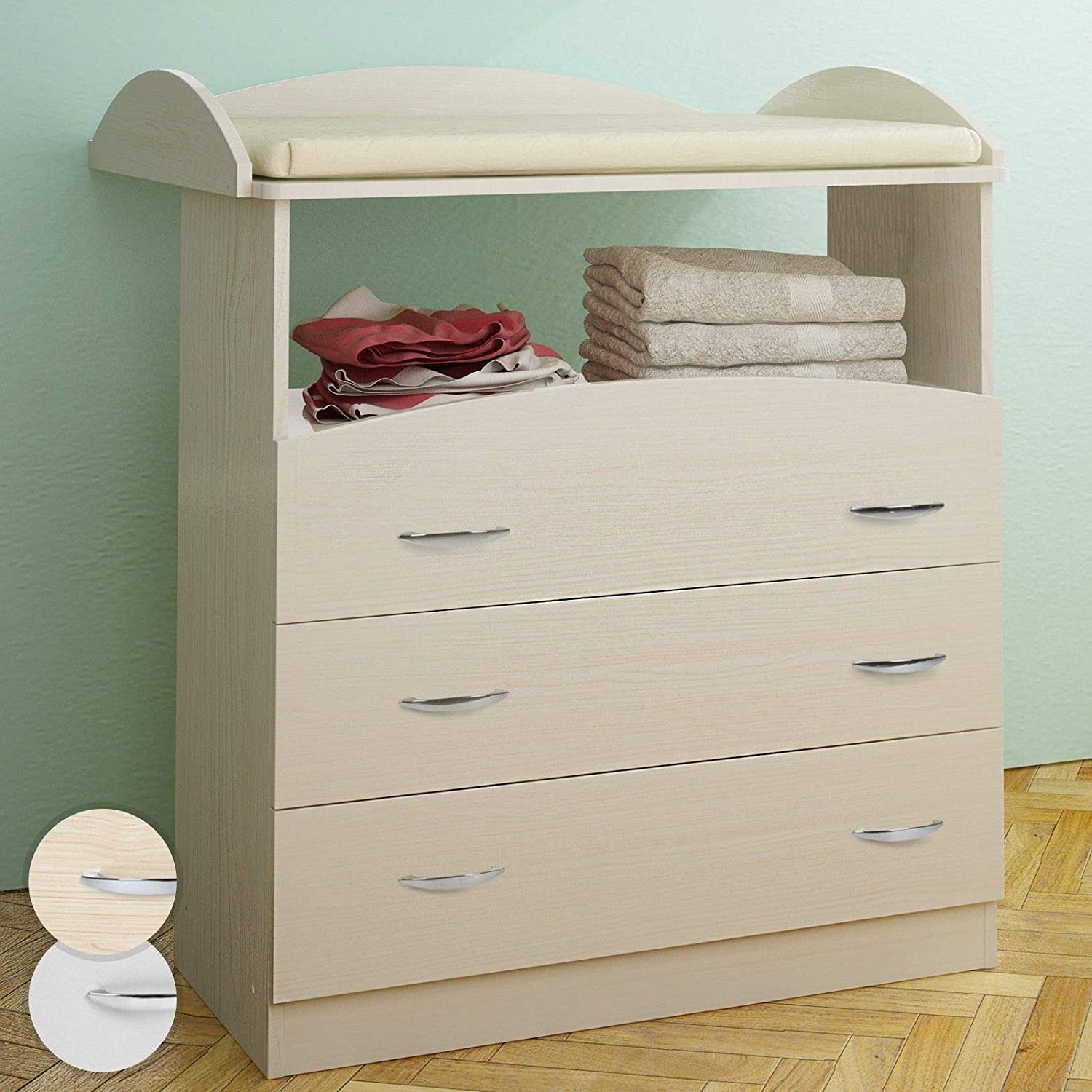 Baby Changing Table Unit 3 Drawers Chest Storage Nursery Furniture