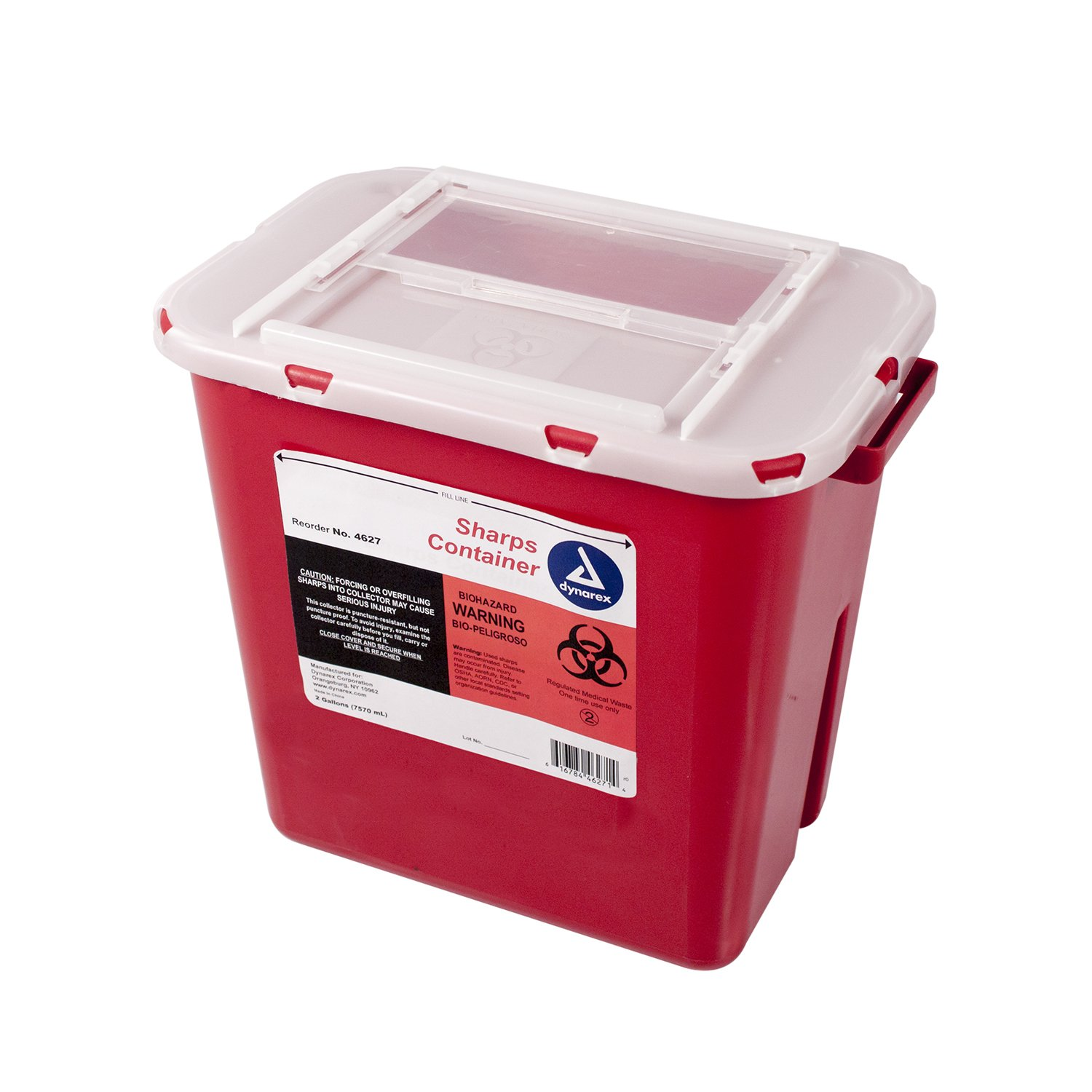 Dynarex Sharps Container - Biohazard Multiple-Use Needle Disposable - Puncture Resistant - One Handed Use - 2 Gallon
