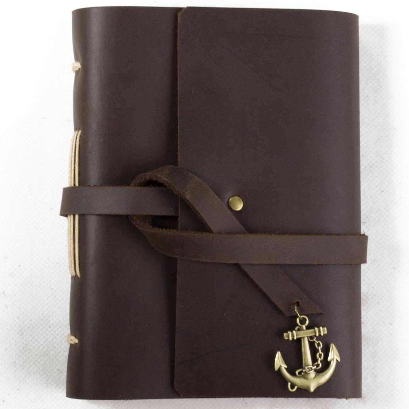 Ancicraft Small Leather Journal Diary with Anchor Vintage Handmade A6 Lined Craft Paper Brown with Gift Box (A6-Anchor-Lined Craft Paper)