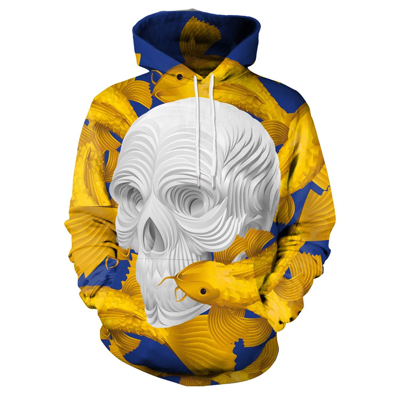 Mrsrui Unisex 3D Graphic Print Realistic Casual Long Sleeve Hoodie Pullover Sweatshirt Yellow by Mrsrui