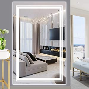 WIHTU 55''x35'' Full Length Mirror, LED Full Body Makeup Mirror with Lights Wall Mounted, CRI 95+, 5500K Soft White Lights Explosion-Proof Big Bathroom Mirror, for Bedroom/Dressing Room/Hotel/Salon