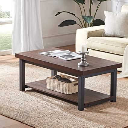 Amazon.com: DYH Rustic Coffee Table, Wood and Metal Rectangular ...