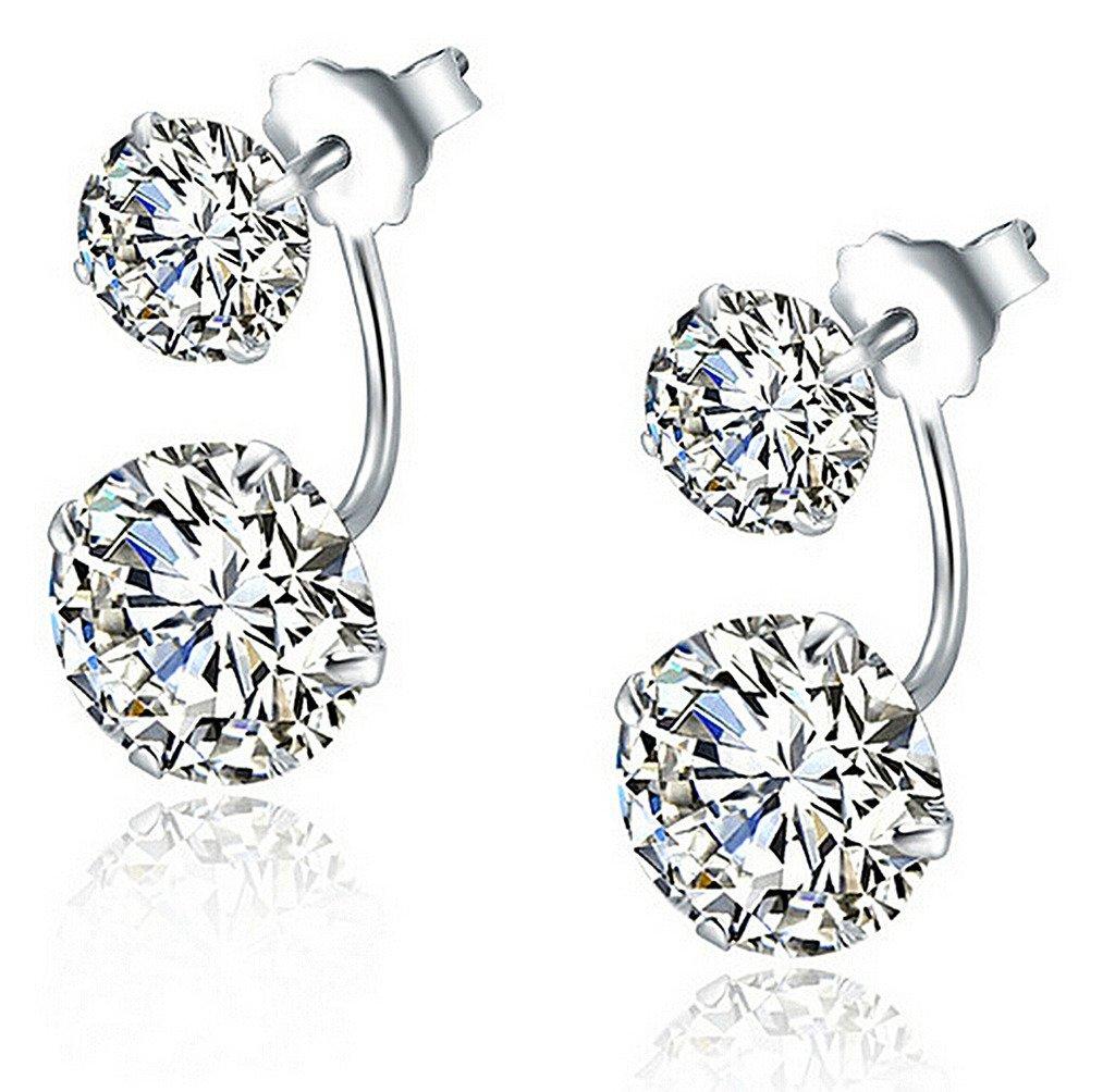 Infinite U 925 Sterling Silver Cubic Zirconia Earrings Jacket Double Ball Stud Earrings