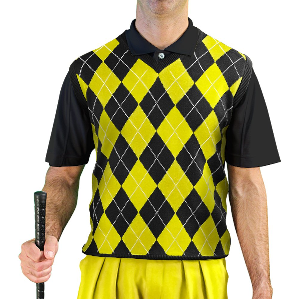 V-Neck Argyle Golf Sweater Vests - GolfKnickers: Mens - Pullover - Black/Yellow - Large