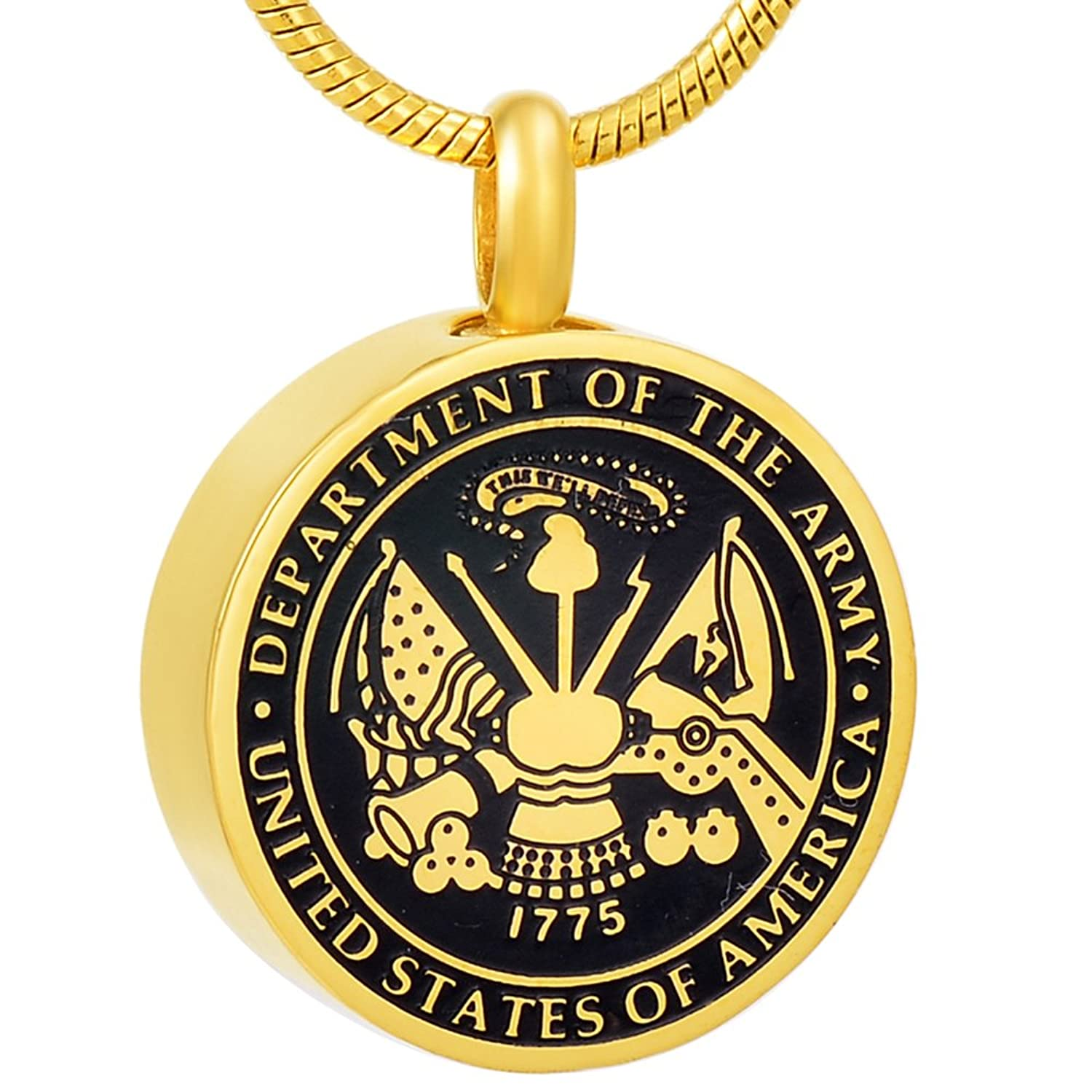 USA Army Stainless Steel Cremation Pendant Necklace Memory