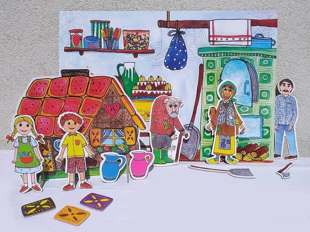 Szenen Puppen Kulissen Marionetino H/änsel und Gretel