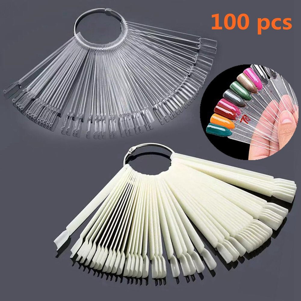 100 pcs Double Color Nail Tips Sticks Polish Display Tool(Natrural+Transparent),Fan Nail Art Tips Display Practice Sector Tool with Stainless Steel Hoop senyude