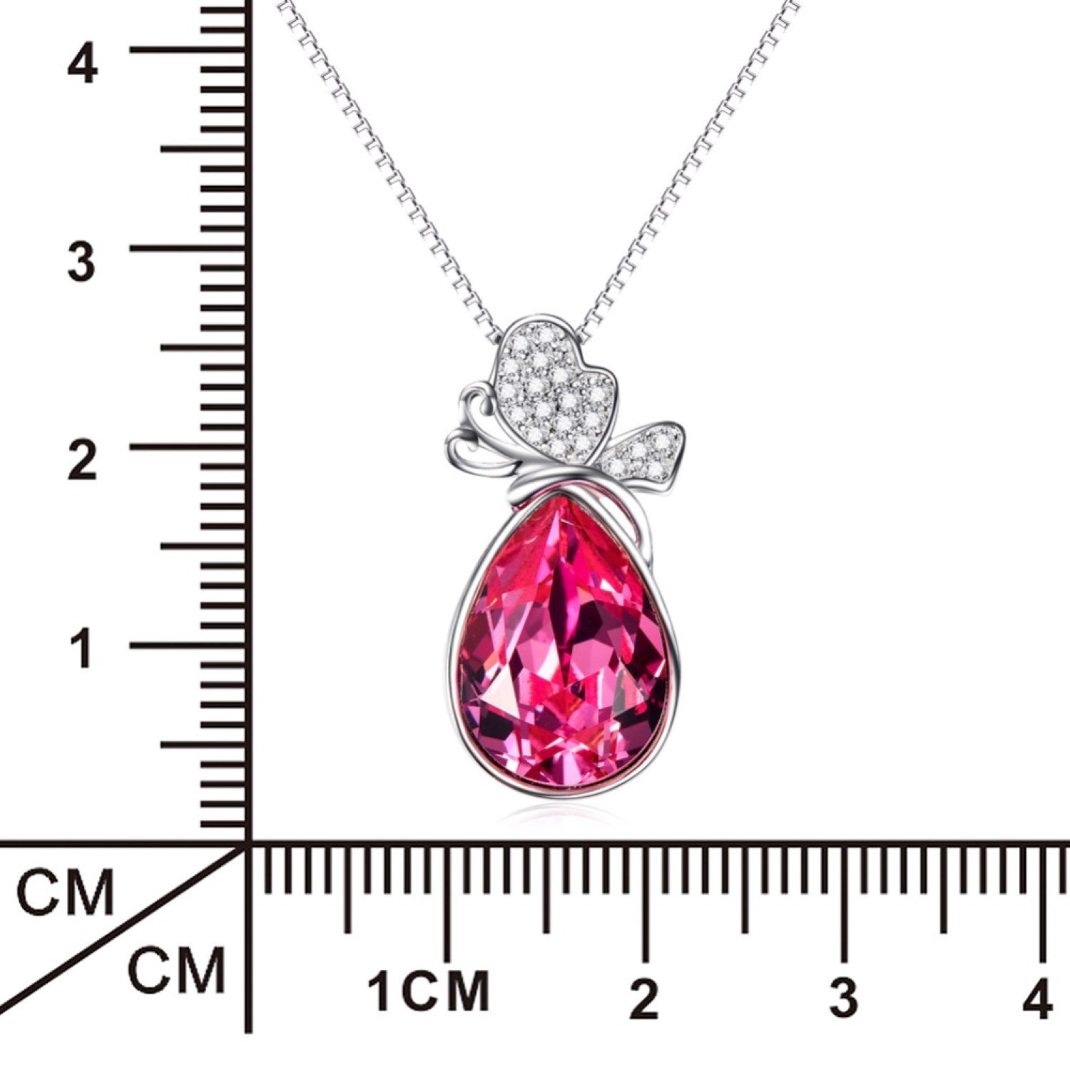 CS-DB Pendants Necklaces Silver Rose Red Crystal Water Drop Jewelry Girls