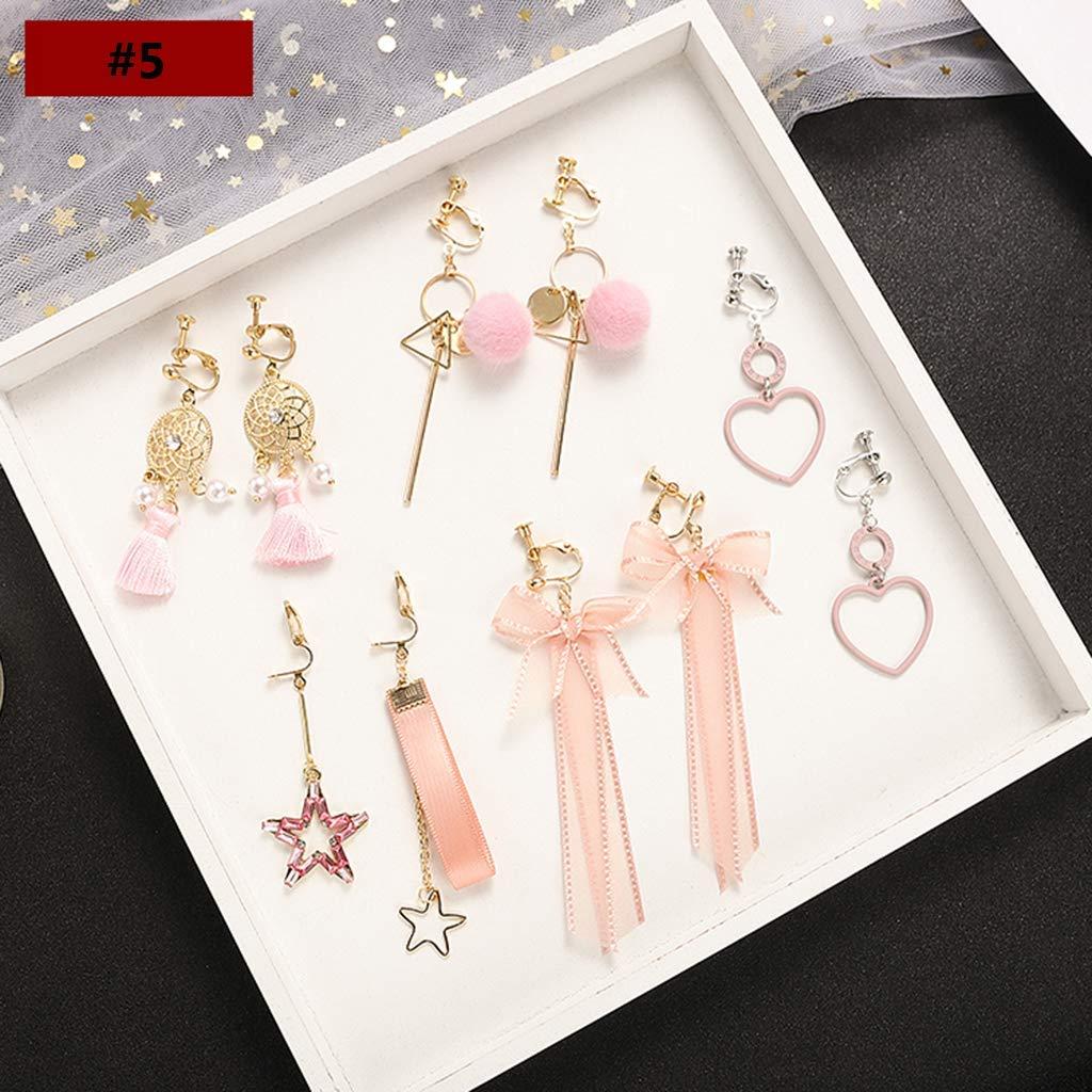 Cinco sets,A aleaci/ón de aluminio Dangle Drop Stud Clip para oreja Pendientes para mujer Sin orificios para los o/ídos Sin perforaciones