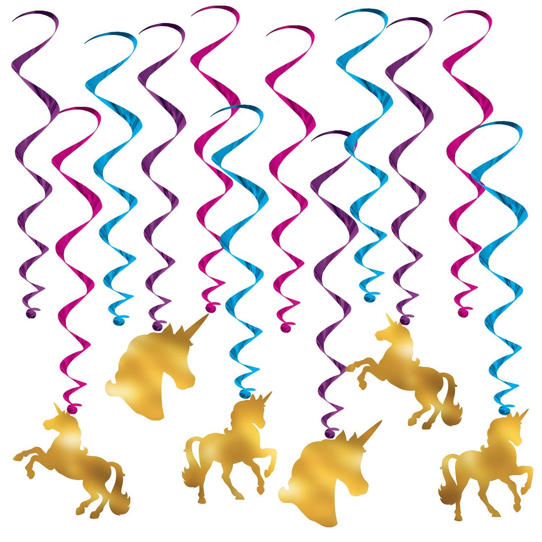 Beistle Unicorn Whirls | Birthday Party Decorations (3-Pack)
