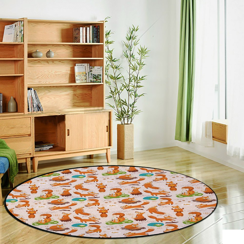 Printing Round Rug,Yoga,Flexing and Stretching Fox Meditation Cute Little Cartoon Animals Dotted Background Mat Non-Slip Soft Entrance Mat Door Floor Rug Area Rug For Chair Living Room,Multicolor by iPrint (Image #2)