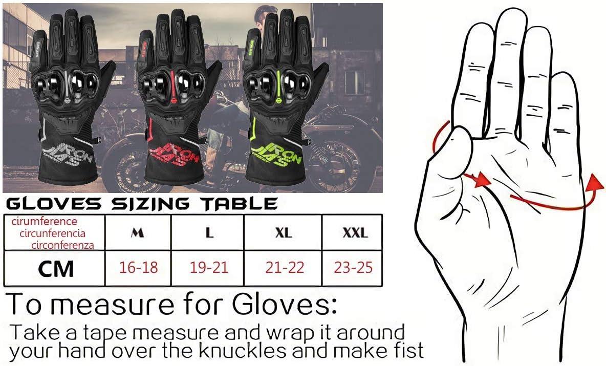 Motorcycle Gloves 100/% Waterproof,Full Finger Winter Warm Fiber Hard Knuckle Motorbike Gloves with Touchscreen Function