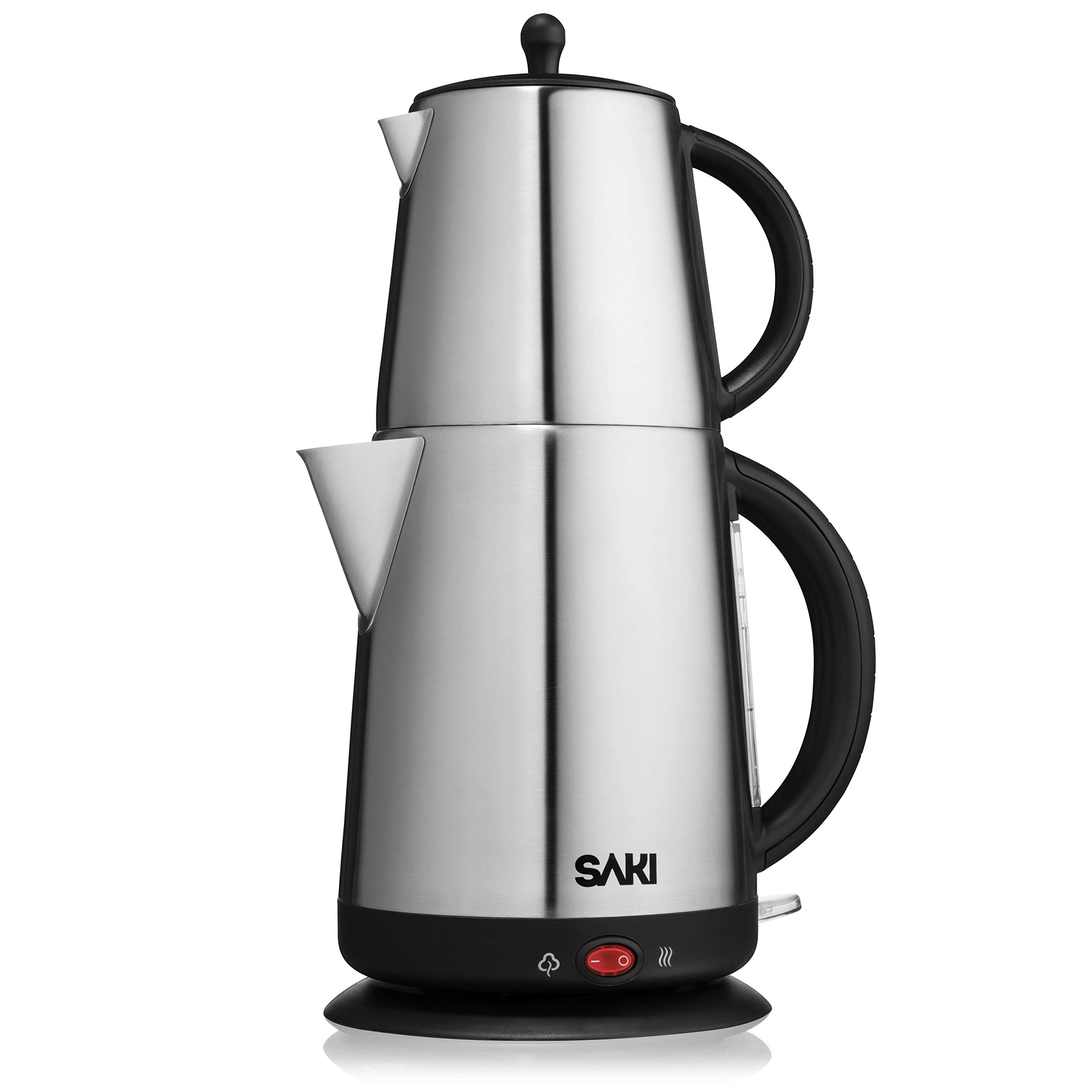 Saki Tea Maker - 1.7 L,110 V -Electric Kettle with Tea Infuser Teapot, Water Heater Thermostat Control, Keep Warm Mode, Stainless Steel, Boil Dry Overheat Protection - 2 in 1 Tea Kettle Boiler Tea Pot