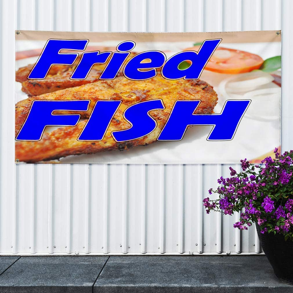 One Banner 8 Grommets Multiple Sizes Available Vinyl Banner Sign Fried Catfish Red Brown White Outdoor Marketing Advertising Red 48inx96in