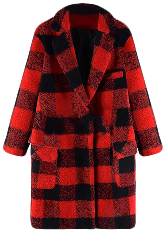 XQS Women Single Button Lattice Pocket Cardigan Woolen Outwerear