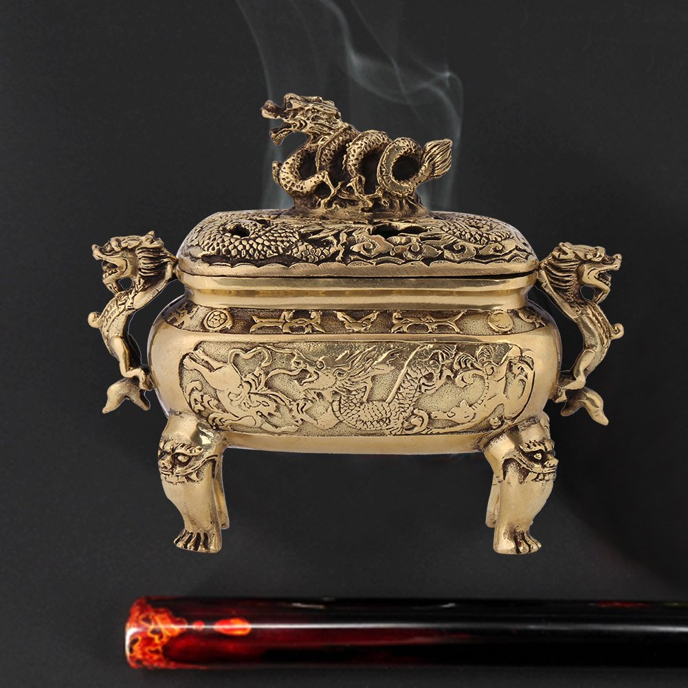 Walfront Antique Bronze Copper Chinese Dragon Incense Burner Holder with Lid Home Decoration by Walfront (Image #5)