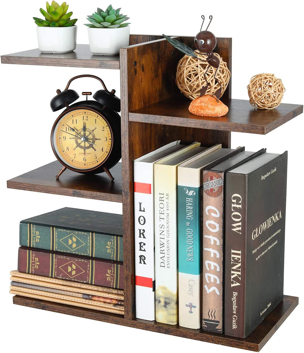 PAG Wood Desktop Shelf Small Bookshelf Assembled Countertop Bookcase Literature Holder Accessories Display Rack Office Supplies Desk Organizer, Retro Brown
