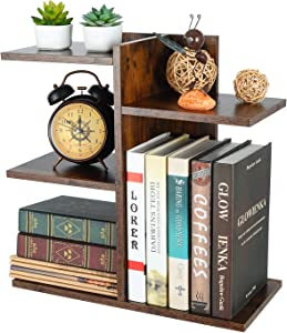 PAG Wood Desktop Shelf Small Bookshelf Assembled Countertop Bookcase Literature Holder Accessories Display Rack Office Supplies Desk Organizer, Retro Brown