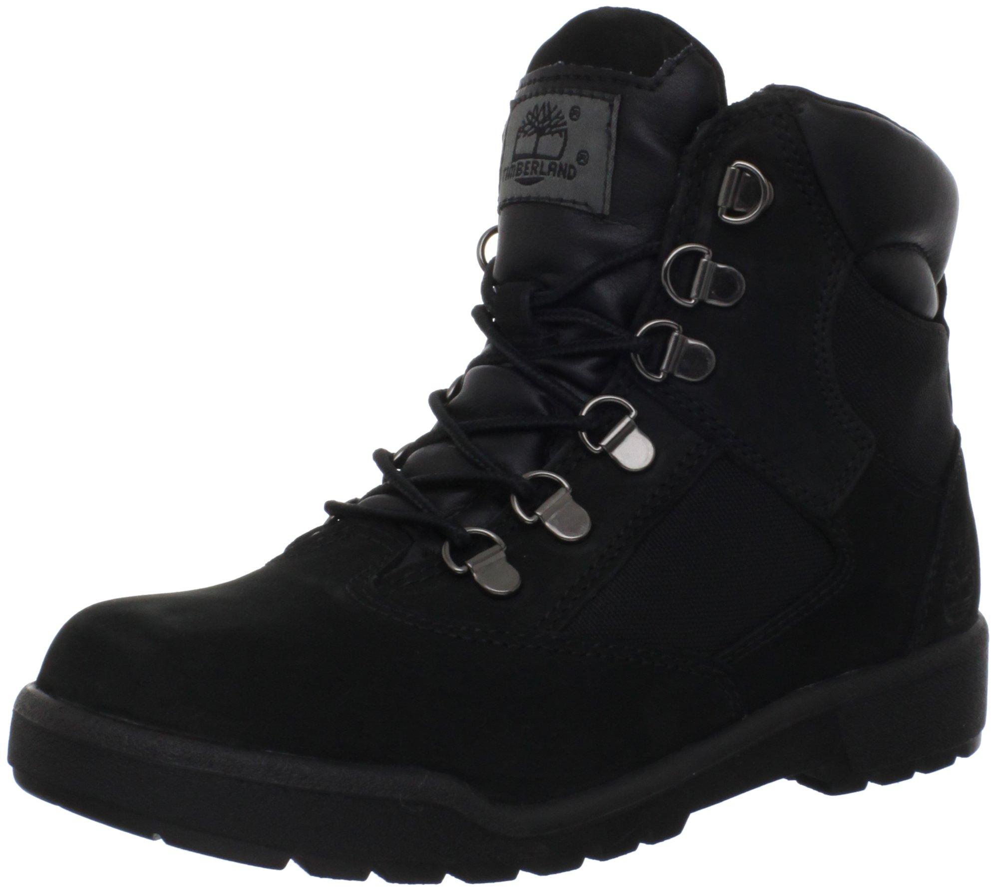 Timberland 6-Inch Leather and Fabric Field Boot (Toddler/Little Kid/Big Kid),Black Nubuck,4.5 M US Big Kid