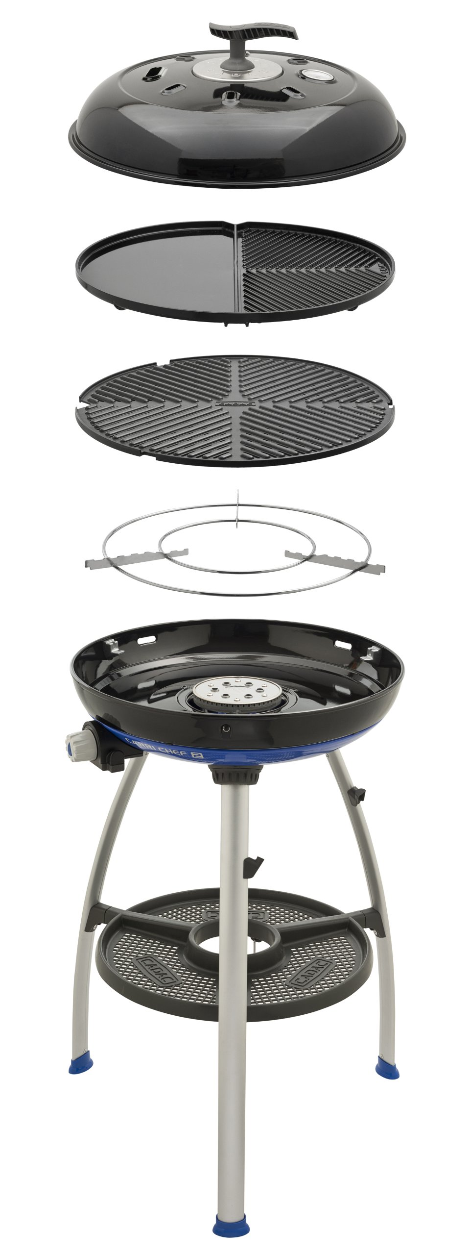 Cadac 8910-50 Carri Chef 2 Outdoor Grill with Pot Stand, Barbeque Grid and Split Grill/Griddle Plate by CADAC