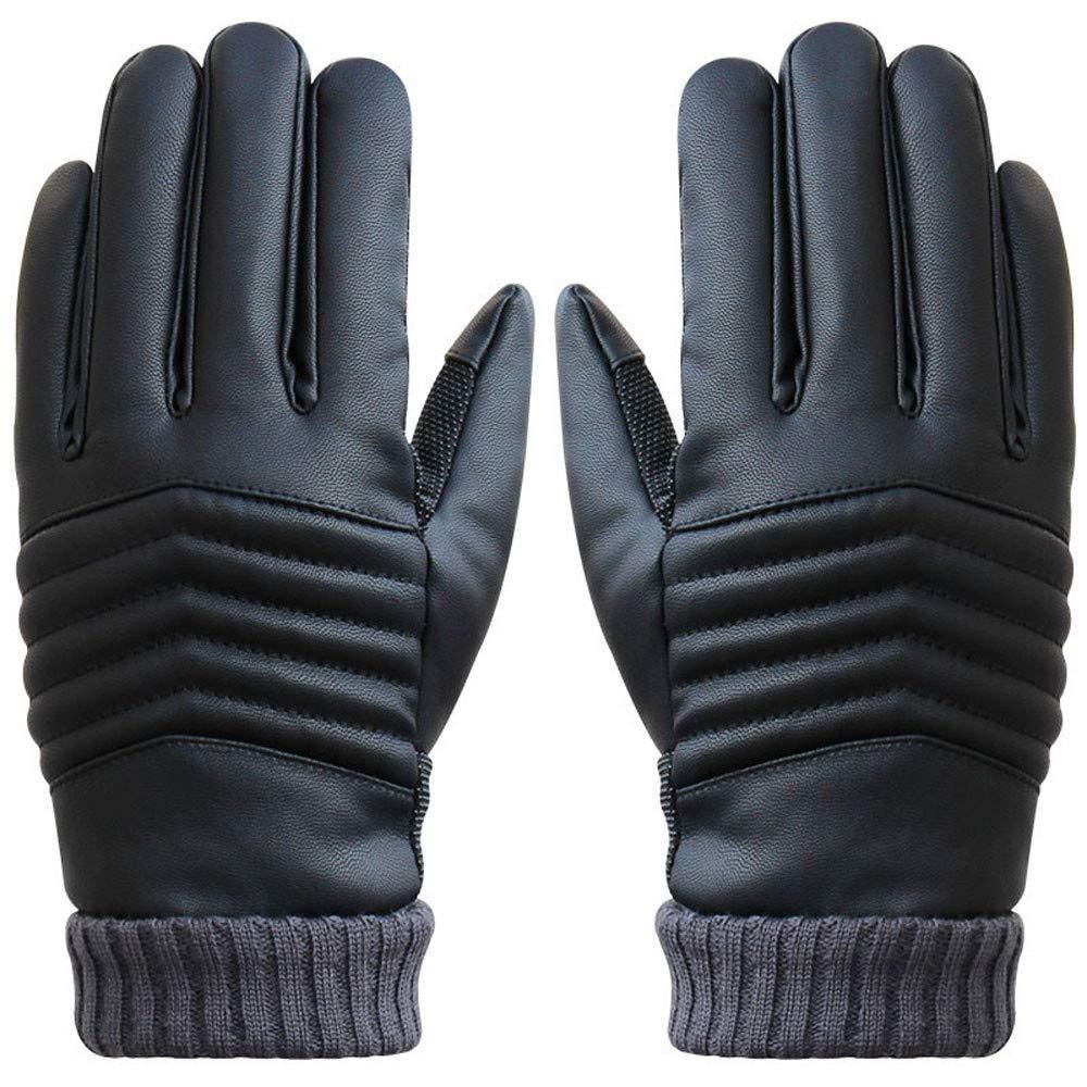 Gants Tactiles Hommes pour Texting Driving, Gants en cuir chauds d'hiver, Doublure en molleton, Gants vé lo Noir Gants en cuir chauds d' hiver Gants vélo Noir (Noir)