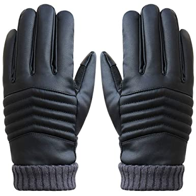 0a7b25d8e832 Gants Tactiles Hommes pour Texting Driving, Gants en cuir chauds d hiver,  Doublure
