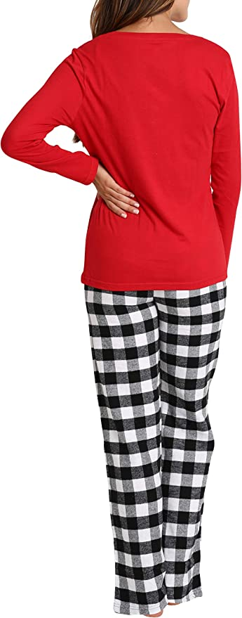 AIRIKE Mujer Pantal/ón de Pijama Largos Algod/ón Patalones a Cuadros Suaves