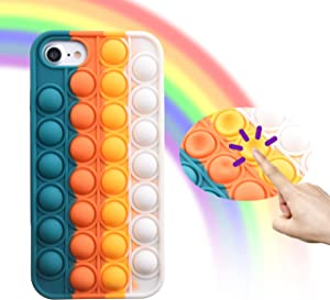 Eco-Fused 1x Pop Pop Bubble Sensory Fidget Toy Case - Silicone Protective Phone Cover Compatible with iPhone 7/8/SE2020 - Protect Against Bumps and Scratches - Stress and Anxiety Relief Case - Orange