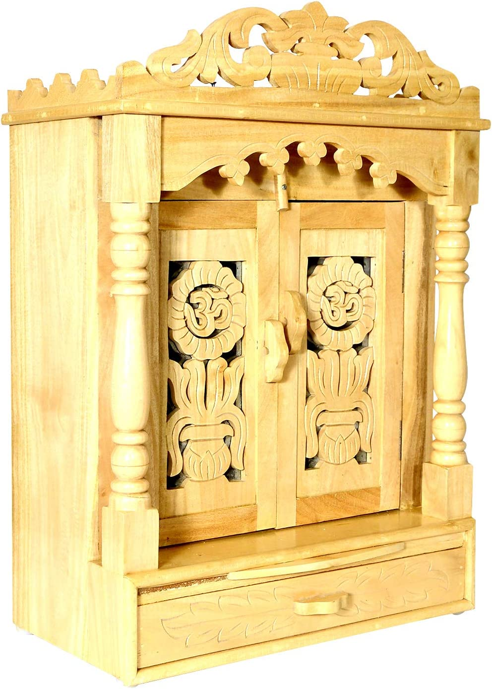 Wooden Temple/Mandir for Home/Temple for Home Wall/Home Temple/Mandir/Pooja Mandir/Pooja Temple/Cabinet Temple/Mandap/Temple for Home/Handicraft Sevan Wooden Temple AMBA AHTP006