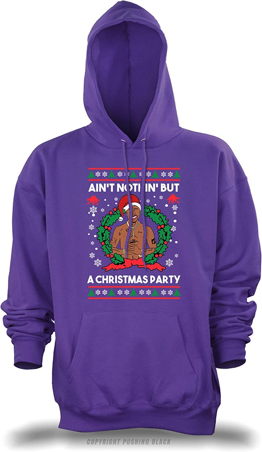 PUSHING BLACK Aint Nothing But a Christmas Party Unisex Pullover Hoodie , Small Purple Gildan