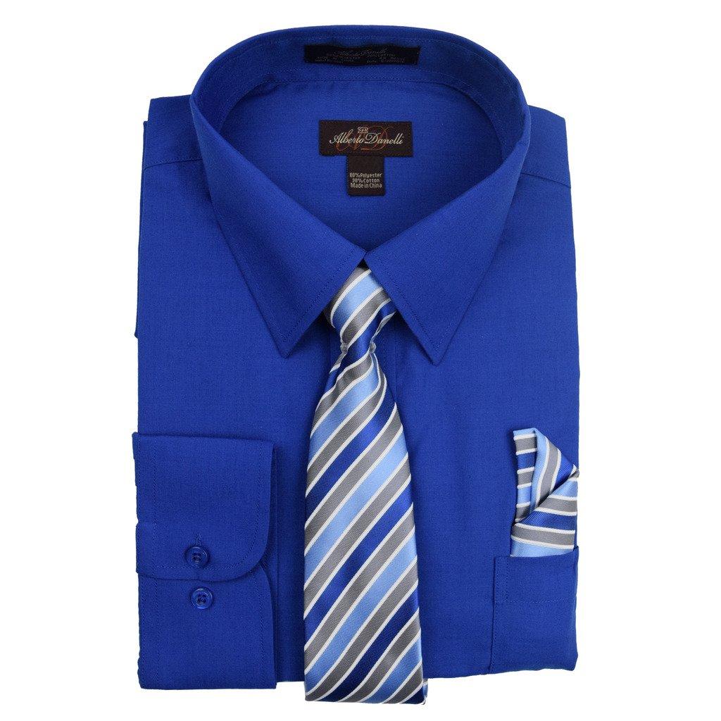 Alberto Danelli Men's Long Sleeve Dress Shirt with Matching Tie and Handkerchief, Medium / 15-15.5 Neck -33/34 Sleeve, Royal Blue