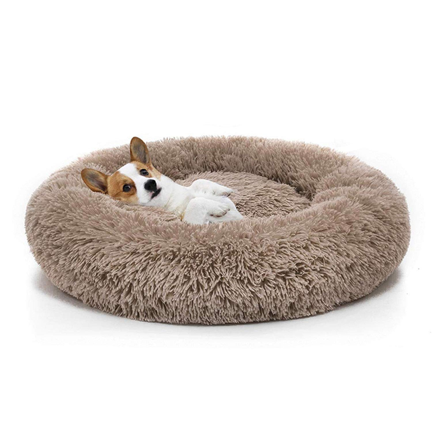 Himora Warm Fleece Dog Bed Round Pet Lounger Cushion for Dogs&Cat Dog Kennel Puppy Mat Pet Bed