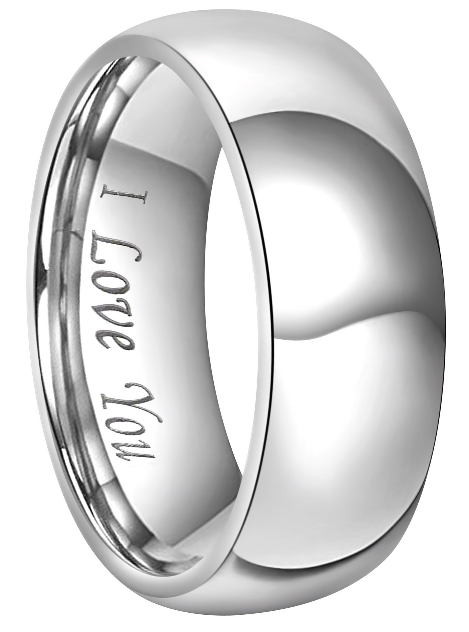 CROWNAL 4mm 6mm 8mm Titanium Couple Wedding Bands Rings Men Women Dome Polished Engraved I Love You Comfort Fit Size 4 To 16 (8mm,9)