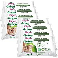 Love & Green Pack de 56 Lingettes au Liniment 99% d'Origine Naturelle Spécial Change - Lot de 8
