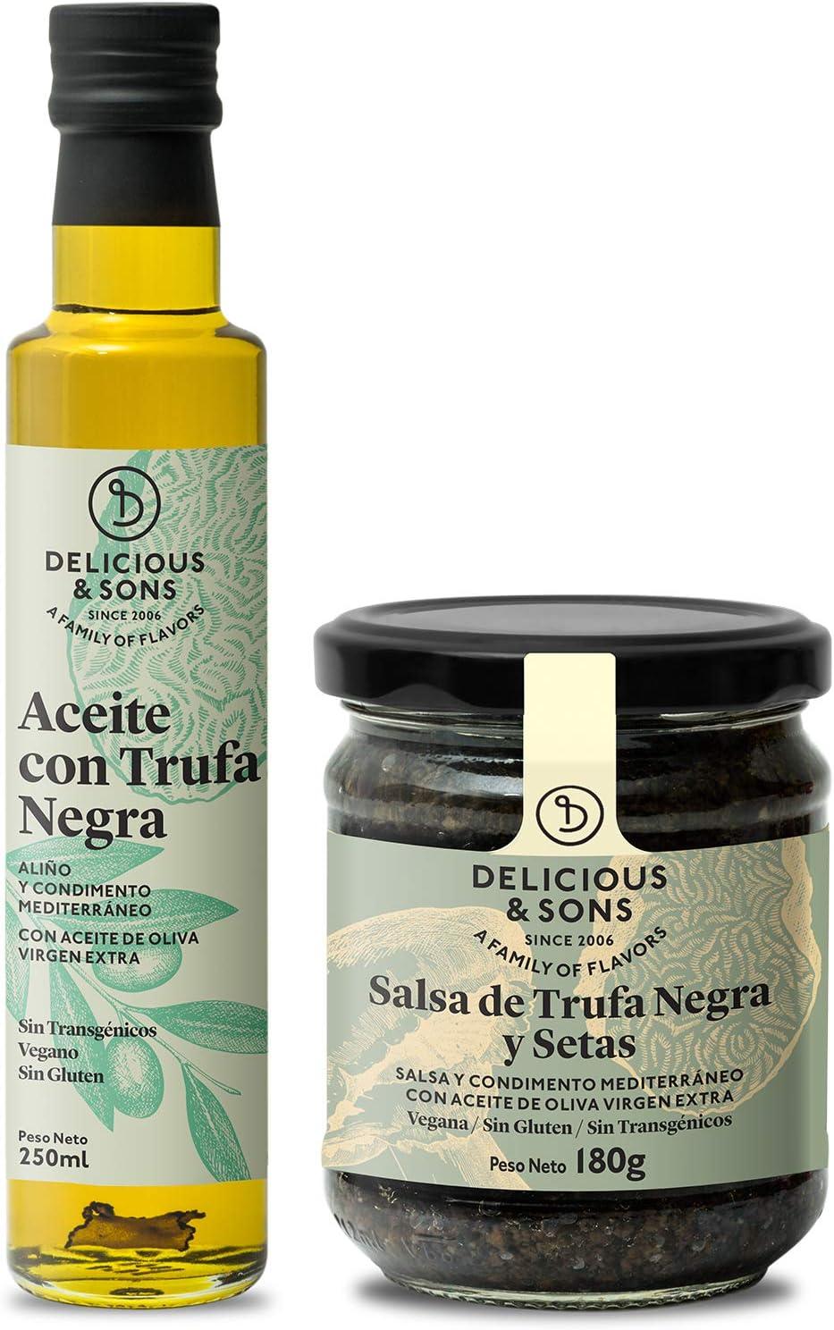 Delicious & Sons Pack Salsa de Trufa Negra y Setas y Aceite con Trufa Negra