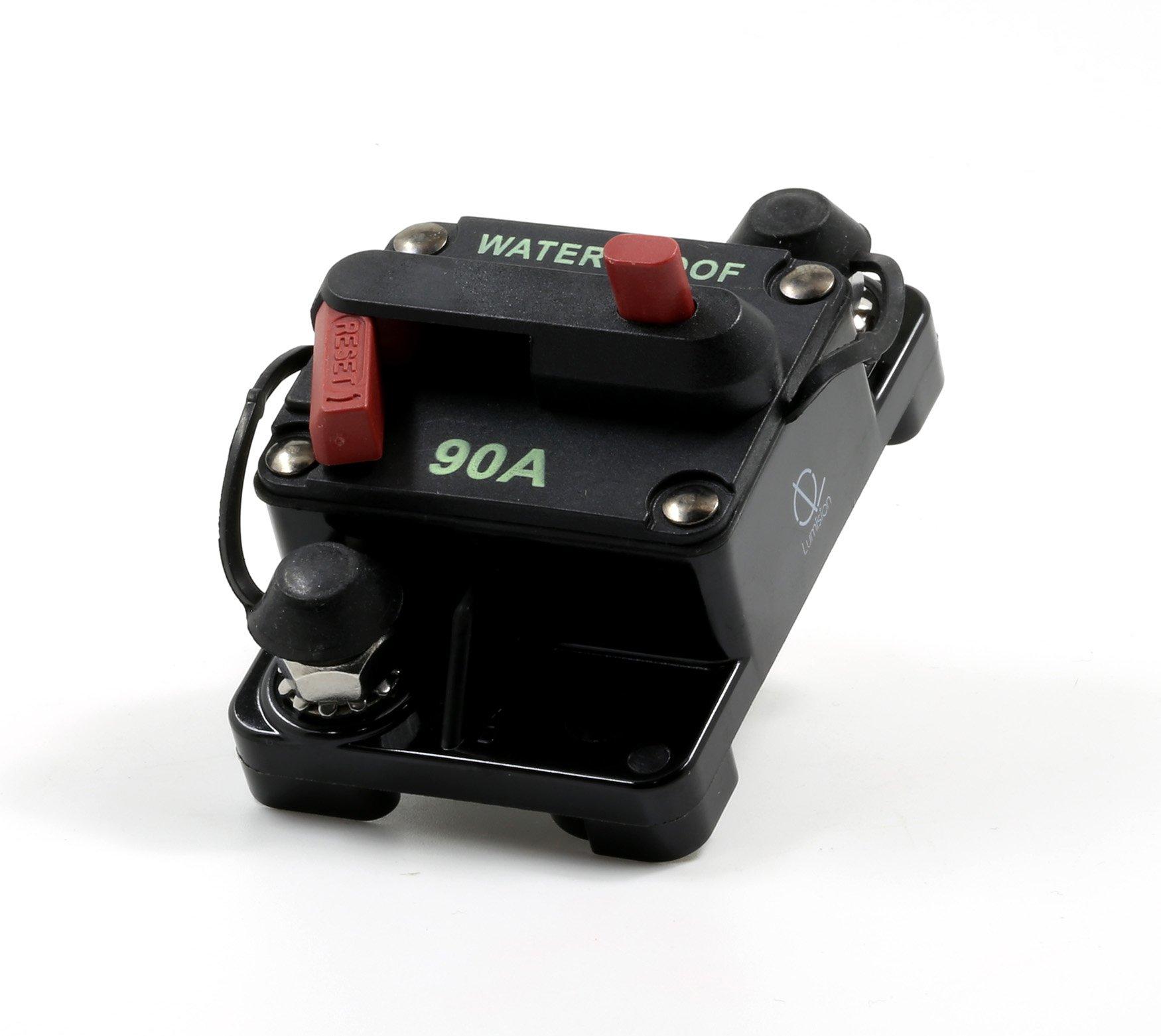 Lumision Waterproof Automotive Circuit Breaker Manual Reset upto 48VDC 90AMP