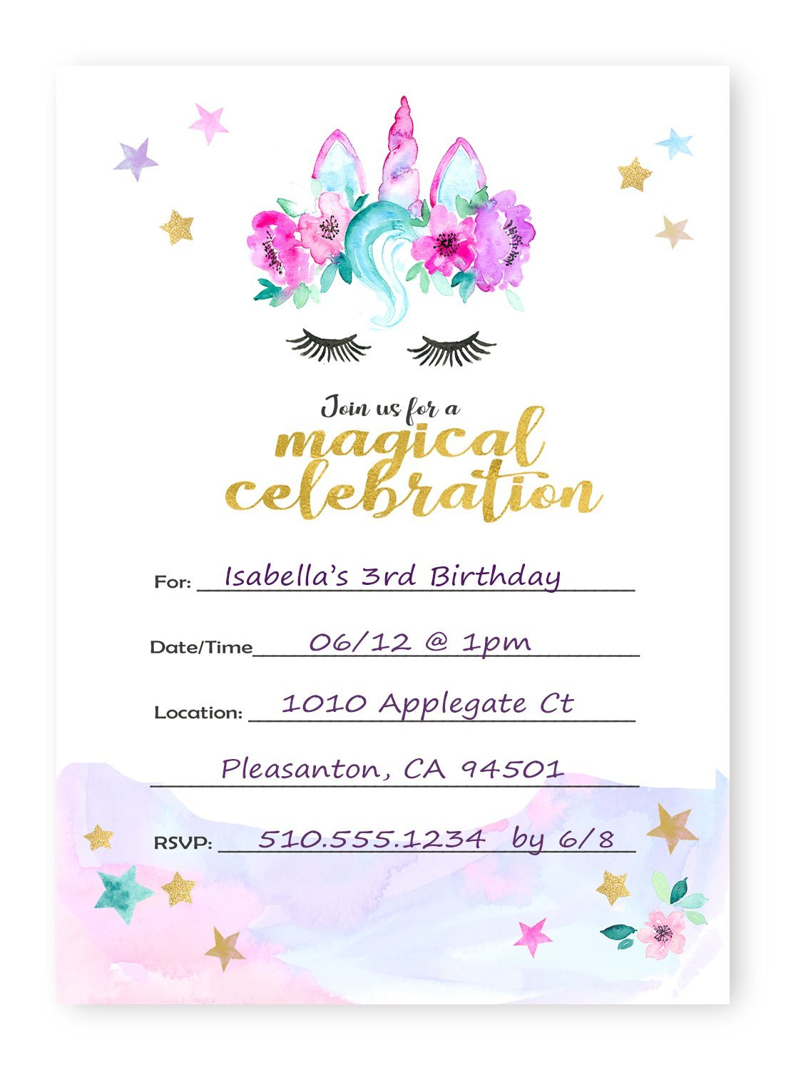 Amazon.com: Magical Unicorn Invitations Large -12 Invitations + 12 ...