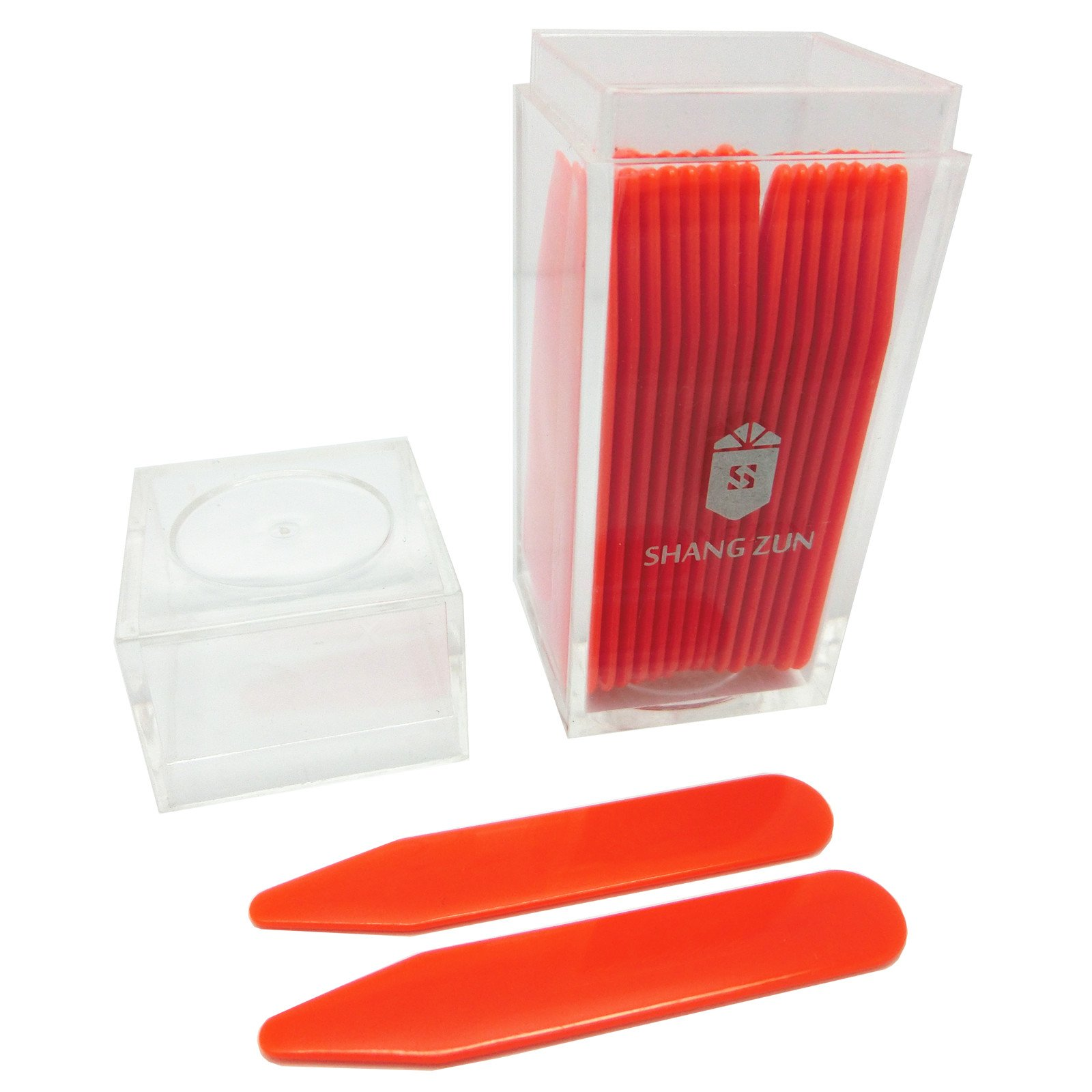 Shang Zun 30 Pcs Orange Plastic Collar Stays in Clear Box, 2.2''