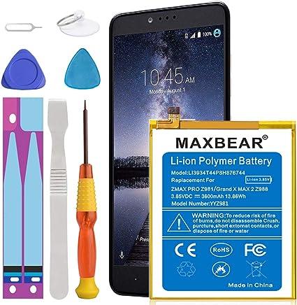 Batería ZMax Pro Z981, MAXBEAR [3600 mAh] de polímero de Litio, batería de Repuesto integrada para ZTE Grand X MAX 2 Z988/ZMax Pro Z981 Li3934T44P8H876744 con Kits de Herramientas de reparación: Amazon.es:
