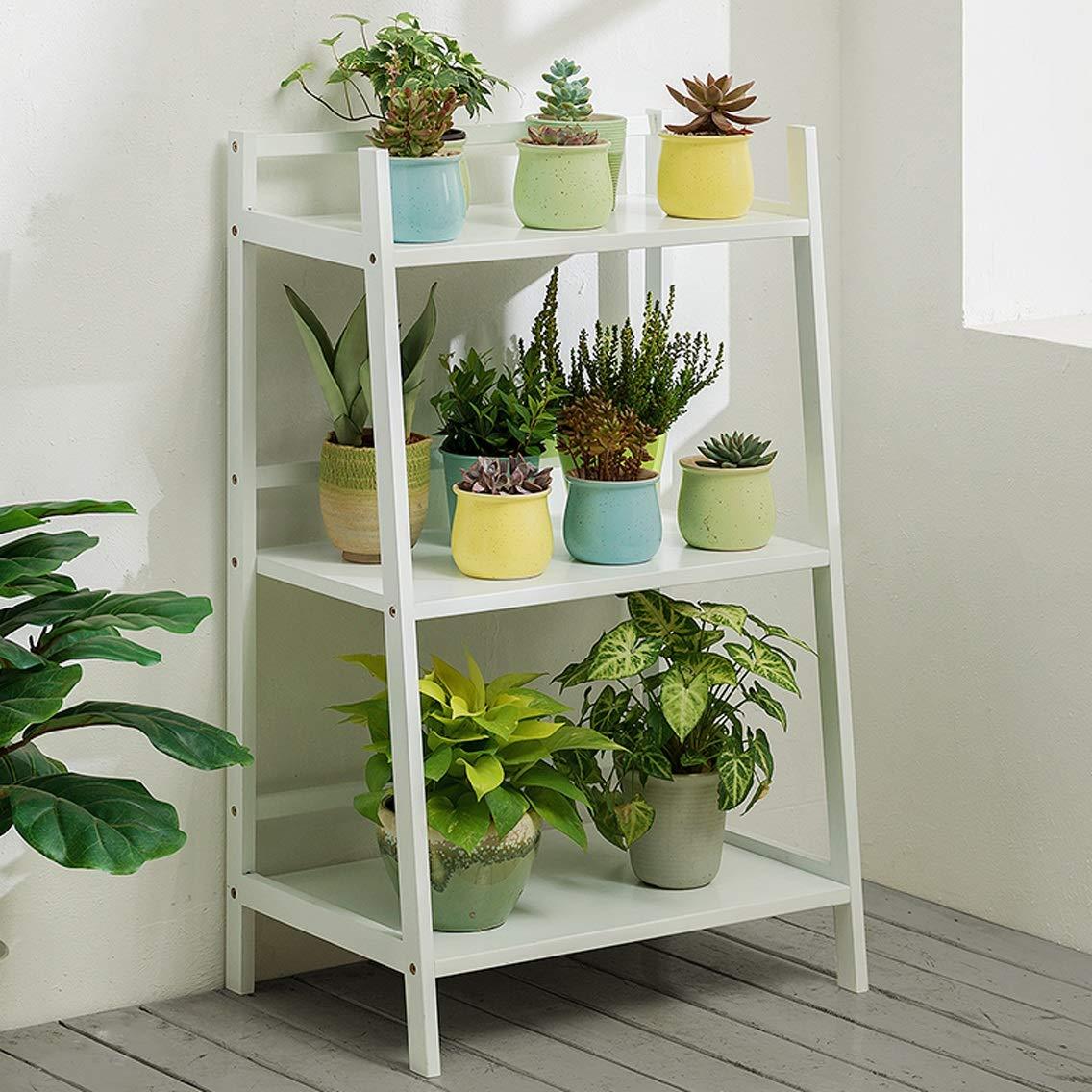 LRW Bamboo Flower Rack, Floor, Indoor Living Room, Fleshy Flower Frills, Multi Storey Balcony, Green Rose Flower Rack, White, 3 Stories Long 50 Centimeters.