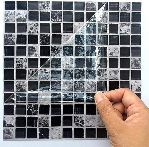 Ingeniously Autocollants en mosaïque, 10pcs / Set 3D Auto-adhésif  imperméable à l\'eau Noir marbre Autocollant de mosaïque en mosaïque Sticker  Mural ...