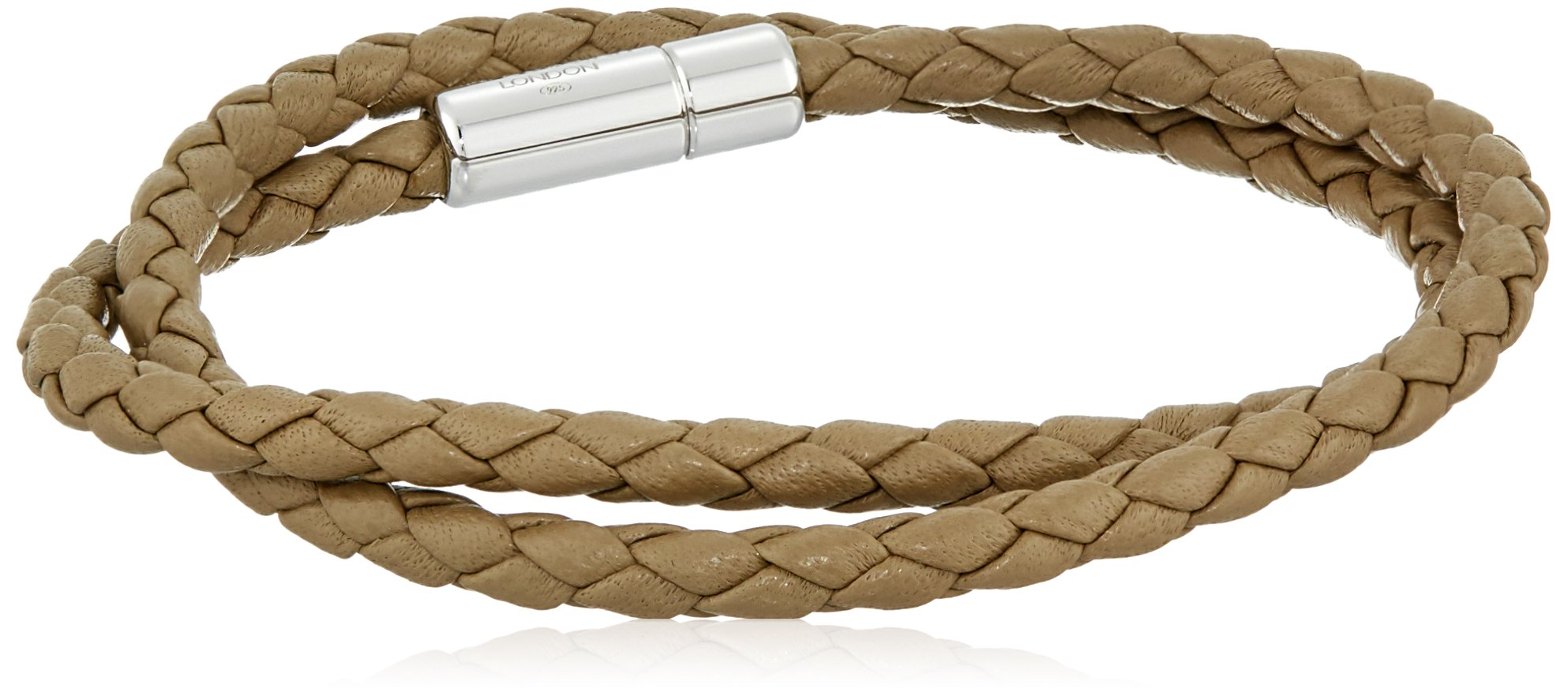 Tateossian Men's Scoubidou Pop Medium Light Brown Double Leather Wrap Bracelet
