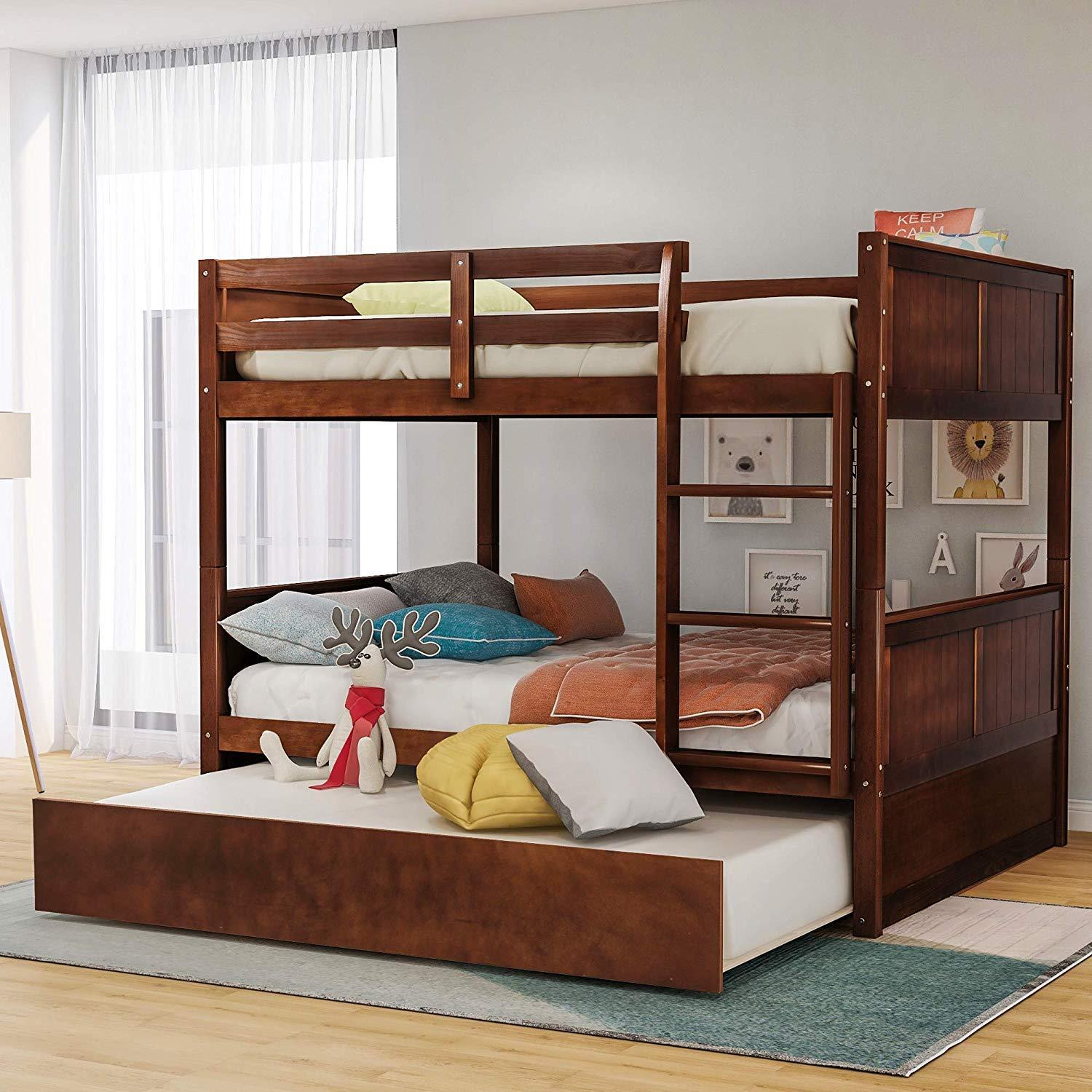 MIERES Trundle,Solid Wood Bunk Bed Frame Convertible Full Size with Rails and Ladder for Adults, Walnut-LP000050AAD