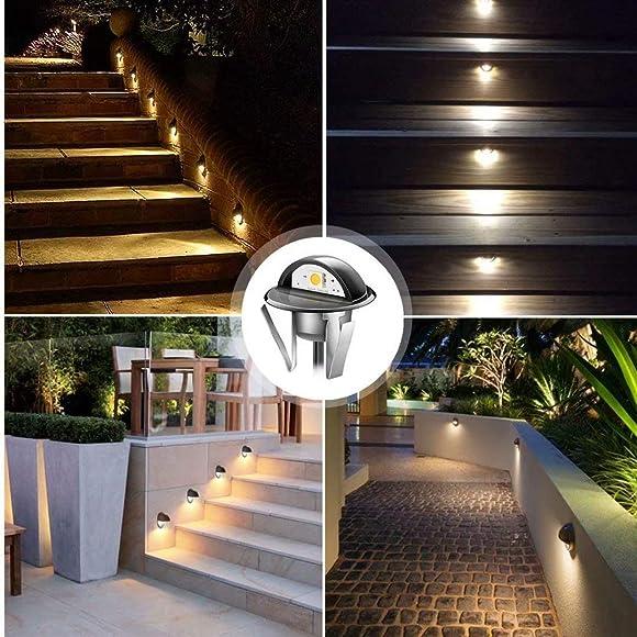 QACA 20pcs LED Step Lights Low Voltage IP65 Waterproof Recessed LED Deck Lighting, Half Moon F1.38 Yard Garden Patio Step Landscape Pathway Decor Lamps, Warm White