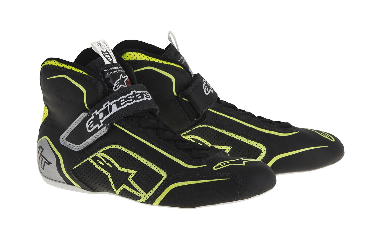 Alpinestars 2710115-1519-10 Tech 1-T Shoes, Black/Fluor Yellow, Size 10, SFI 3.3 Level 5/FIA, Full-Grain Leather by Alpinestars