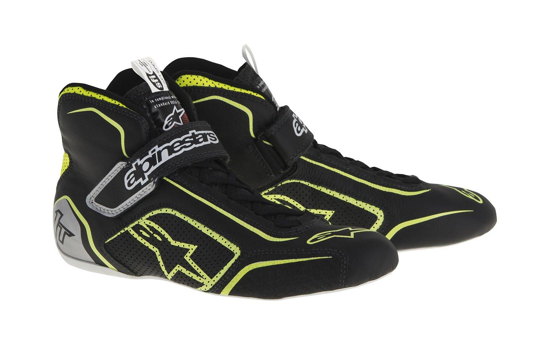 Alpinestars 2710115-1519-8.5 Tech 1-T Shoes, Black/Fluor Yellow, Size 8.5, SFI 3.3 Level 5/FIA, Full-Grain Leather