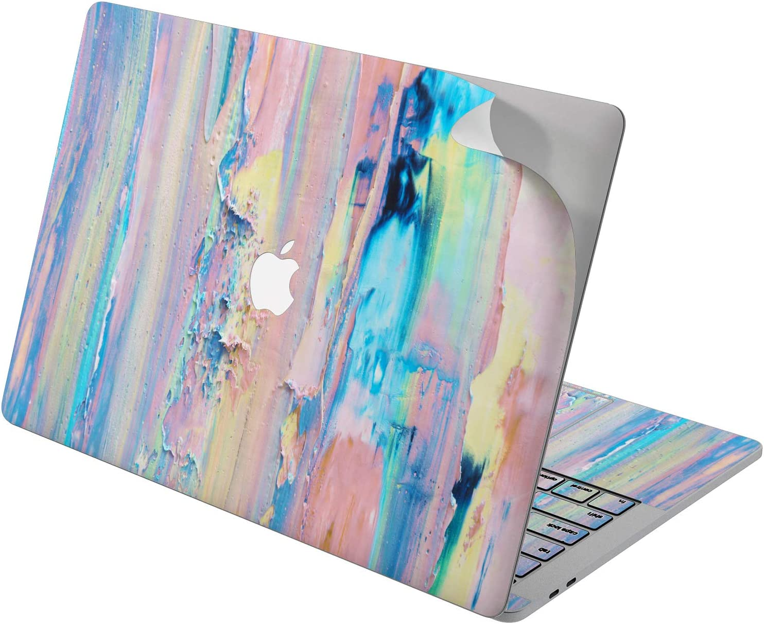 "Cavka Vinyl Decal Skin for Apple MacBook Pro 13"" 2019 15"" 2018 Air 13"" 2020 Retina 2015 Mac 11"" Mac 12"" Paint Emerald Pink Abstract Design Print Watercolor New Cover Sticker Pattern Laptop Protective"