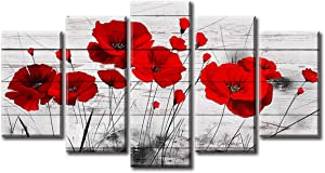 Red Pictures for Wall Decor Valentine'S Day Plant Abstract Art Poppy Flower Canvas Living Room Artwork Black and White Paintings Elegant Floral Decorations 5 Panel Stretched Framed Ready to Hang